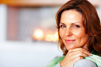 Buy stock photo Portrait of cute young lady at home - Copyspace