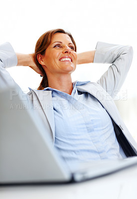 Buy stock photo Beautiful young business woman thinking at office