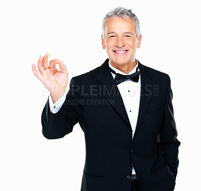 Buy stock photo Portrait of smiling well dressed man showing 'okay' sign on white background