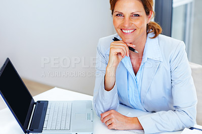 Buy stock photo Happy young business woman working at office