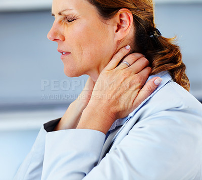 Buy stock photo Neck pain - Young business woman suffering