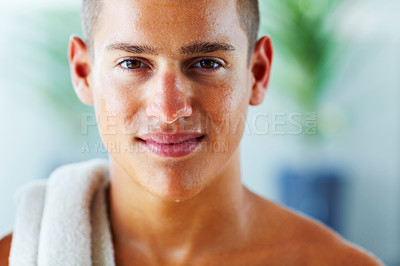 Buy stock photo Handsome young man after a workout
