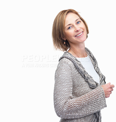 Buy stock photo Portrait of beautiful mature woman posing against