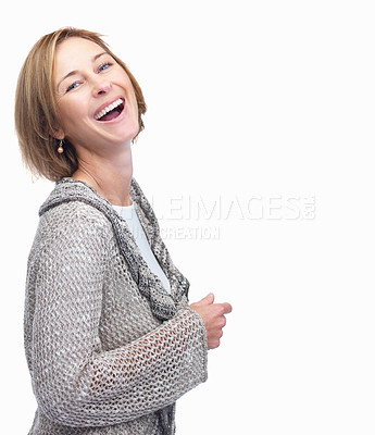Buy stock photo Happy middle aged businesswoman smiling over white