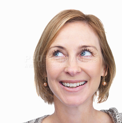 Buy stock photo Closeup portrait of pretty mature woman looking at