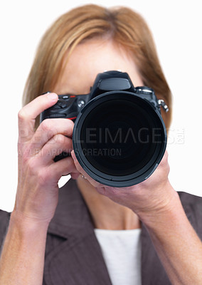 Buy stock photo Portrait of a female photographer taking your phot