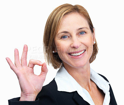 Buy stock photo Closeup of a smiling mature woman gesturing an exc