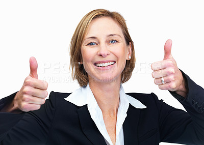 Buy stock photo Successful woman with a thumbs up sign isolated on
