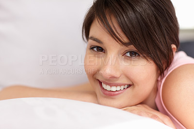 Buy stock photo Cute young female relaxing in bed