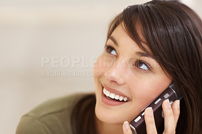Buy stock photo Closeup of a pretty female having a  phone call