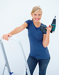 Beauty girl with drill machine on white background