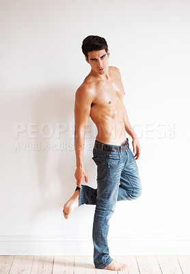 Buy stock photo Portrait of a fit young male model giving a pose - Copyspace