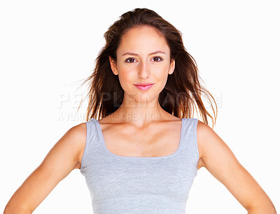 Buy stock photo Woman with hands on hips against white background