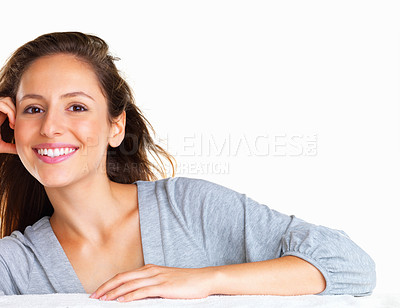 Buy stock photo Casual woman resting head on hand