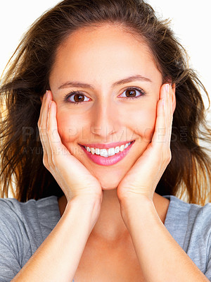 Buy stock photo Happy woman holding her face
