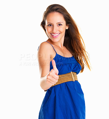 Buy stock photo Woman smiling while holding thumb up