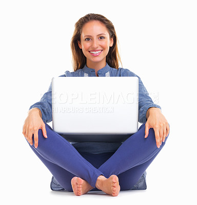 Buy stock photo Woman sitting with laptop