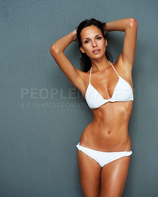 Buy stock photo Sexy woman in a bikini with hands in hair