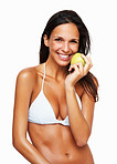 Smiling woman knowing importance of nutrition