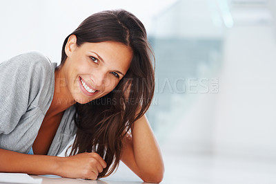 Buy stock photo Pretty woman leaning with hand in hair