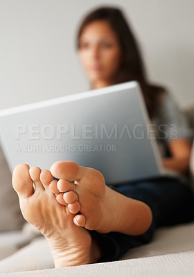 Buy stock photo Closeup of pretty woman's feet
