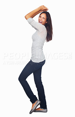 Buy stock photo Full-frame sexy woman casually dancing with arms up