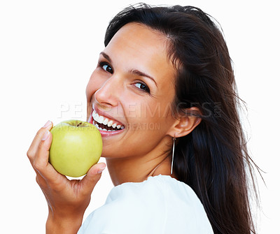 Buy stock photo Side view of woman holding apple against white background