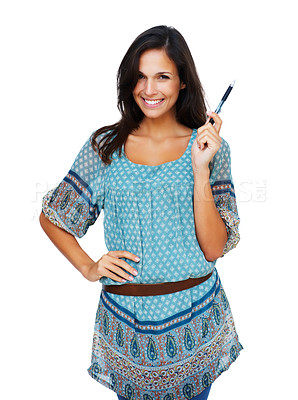 Buy stock photo Woman smiling with hand on hip holding pen