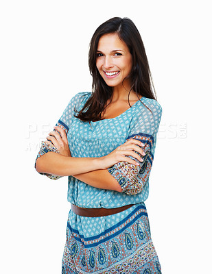 Buy stock photo Woman standing with arms crossed