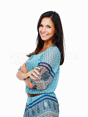 Buy stock photo Side view of woman standing with arms crossed