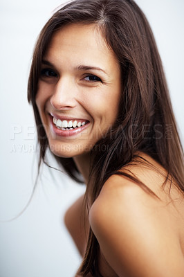 Buy stock photo Closeup portrait of a sexy young female model smiling