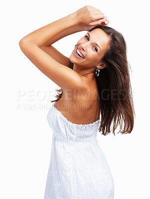 Buy stock photo Woman against white background posing