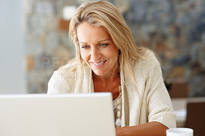 Buy stock photo Closeup portrait of a happy middle aged woman using laptop