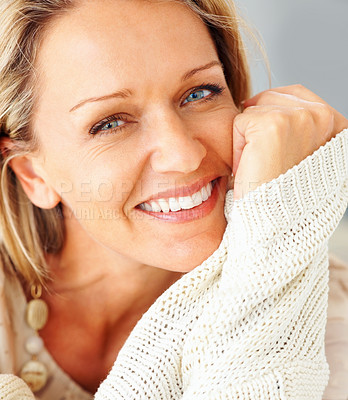 Buy stock photo Detail shot of an attractive Caucasian woman giving you warm smile