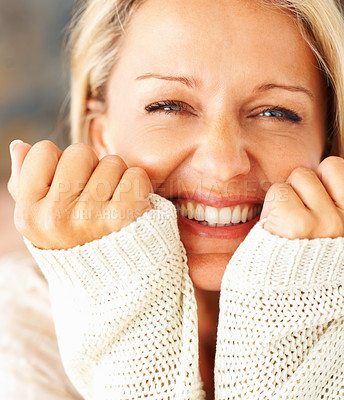Buy stock photo Macro view of a cheerful middle aged woman smiling