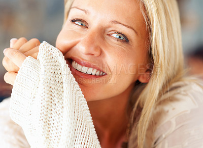 Buy stock photo Detail shot of a pretty middle aged woman giving you a cute smile