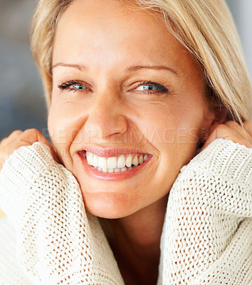 Buy stock photo Closeup portrait of a pretty gray eyed mature woman smiling