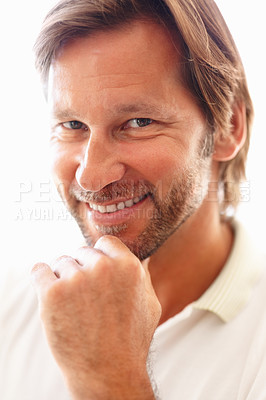 Buy stock photo Closeup portrait of a mature man smiling with hand on chin against white background