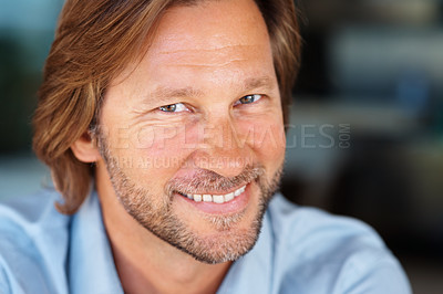 Buy stock photo Closeup portrait of a happy mature man with a friendly smile