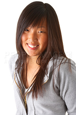 Buy stock photo Isolated studio portrait of a beautiful eastern looking girl with gorgeous dark brown eyes.