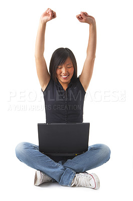 Buy stock photo Internet is fun and sometimes you get really lucky or happy. One of such times might look just like this... This collections unique keyword is: sittinglap123