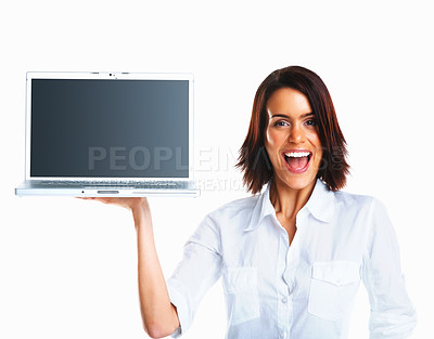 Buy stock photo Portrait of a pretty cheerful executive displaying a laptop for sale