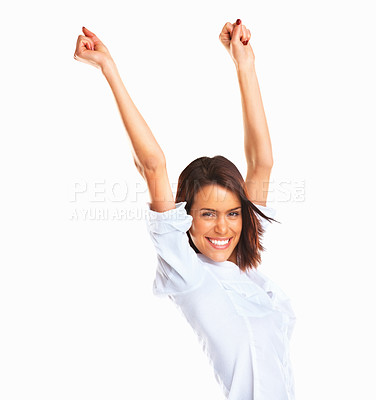 Buy stock photo Portrait of excited young girl smiling with hands raised against white background