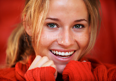 Buy stock photo Closeup shot of an attractive young woman looking at the camera