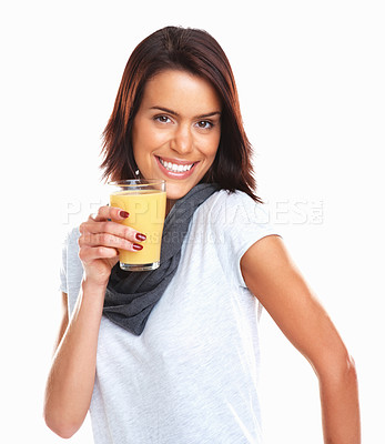 Buy stock photo Portrait of a happy mixed race woman with a glass of orange juice on white