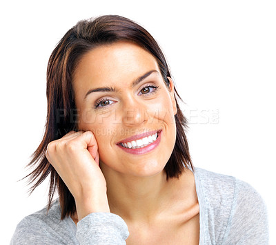 Buy stock photo Closeup portrait of an attrctive young lady smiling aginst white background