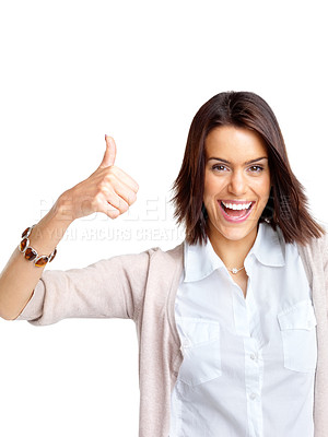 Buy stock photo Portrait of a smiling young woman showing thumbs up sign against white background