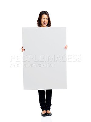 Buy stock photo Full length portrait of a cute young female holding empty board against white background