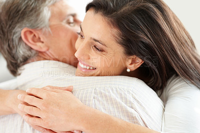 Buy stock photo Closeup portrait of romantic mature couple hugging each other