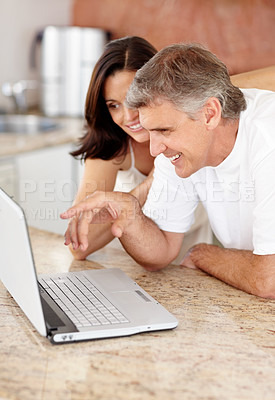 Buy stock photo Portrait of happy mature couple working on laptop computer